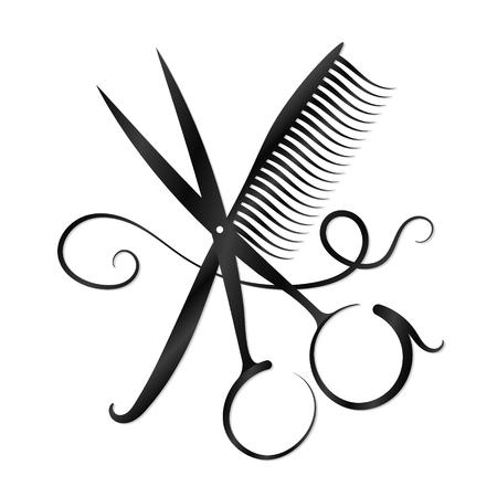 Nożyczki, grzebień i włosy dla biznesu Ilustracje wektorowe