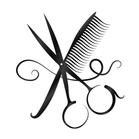 Scissors, comb and hair for business Stock Illustratie
