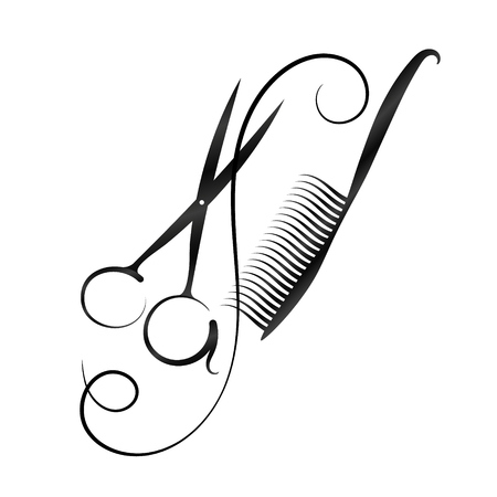 Ein Symbol für einen Friseur und einen Schönheitssalon. Schere und Kamm Silhouette für Unternehmen. Standard-Bild - 75086939