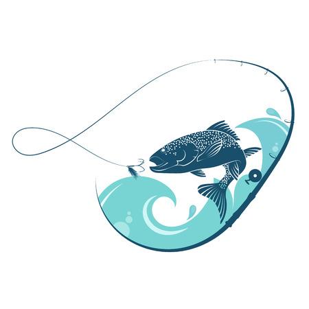 魚は餌をきっかけにジャンプします。釣りのためのデザイン。  イラスト・ベクター素材
