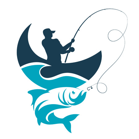 Fishing design for vector. A fisherman catches a boat on a wave. Banco de Imagens - 75301952