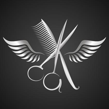 Nożyczki i grzebień ze skrzydłami z metalową sylwetką. Ilustracje wektorowe