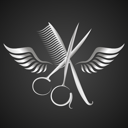 Scissors and comb with wings of metal silhouette. Vectores