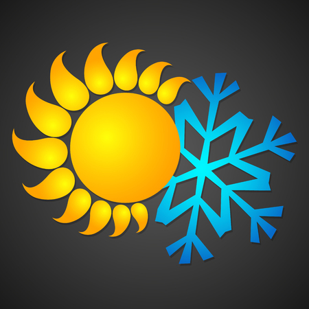 Sun and snowflake for temperature and air conditioning changes