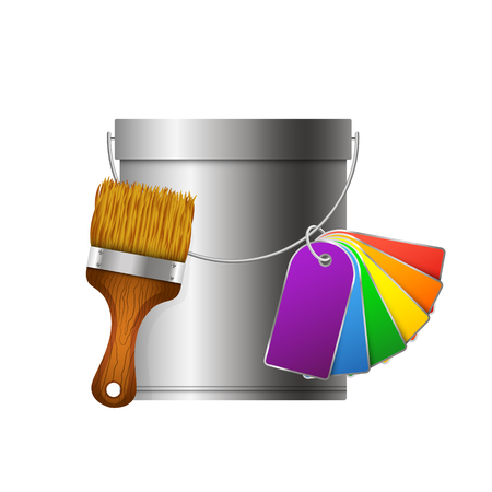 paint can: Bucket, brush and paint palette for vector