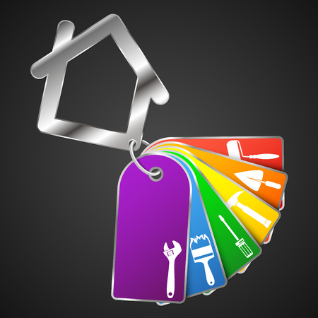 business tool: Repair a house symbol with a tool for business