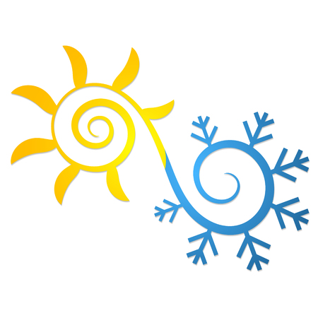 Sun and snowflake abstract symbol for air conditioning and ventilation