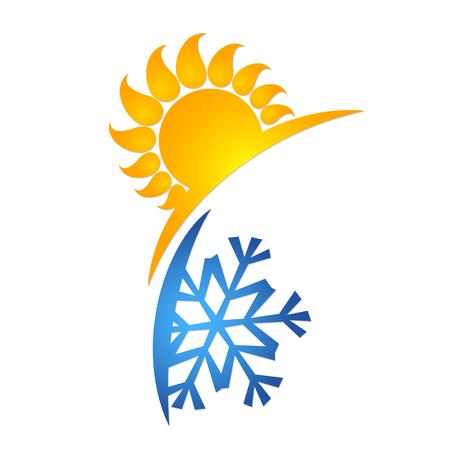 Zon en sneeuwvloksymbool voor airconditioner. Silhouetten voor het bedrijfsleven.