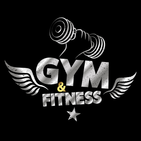 fitness gym: Gym and fitness. Design element concept