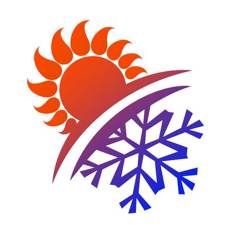 Zon en sneeuwvlok vector voor airconditioning en ventilatie Stock Illustratie