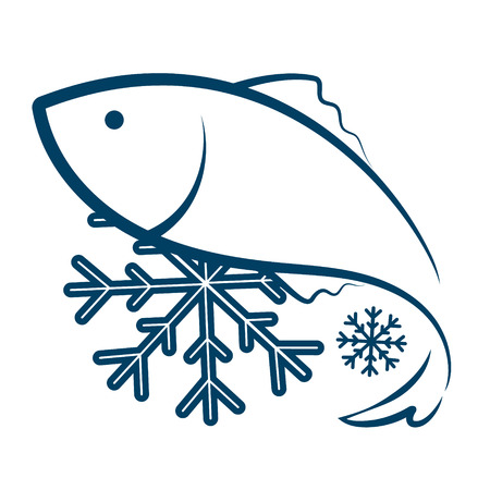 blue fish: Symbol of frozen fish silhouette