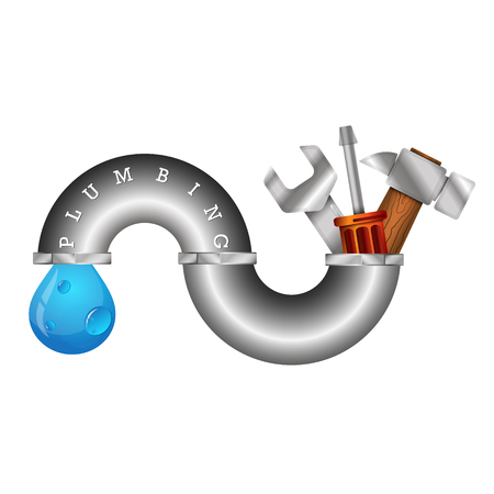 repairs: The symbol of plumbing repairs with a tool for business