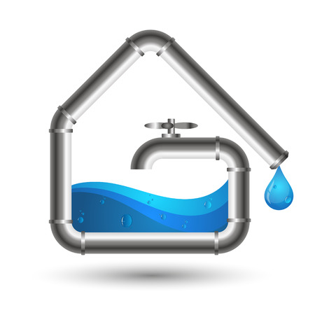 renovating: Water pipes and a drop of water. Design for repair and maintenance of plumbing.