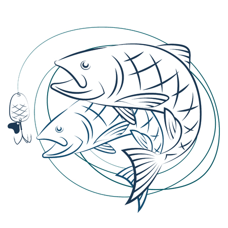 chinook: Fish and fishing line with bait. Silhouettes for sport fishing.
