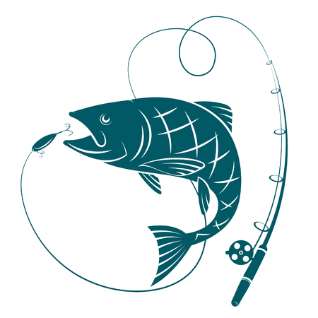 Fish and fishing rod. Silhouettes for sport fishing.