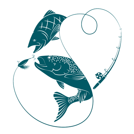 Silhouettes with fish for fishing vector Çizim
