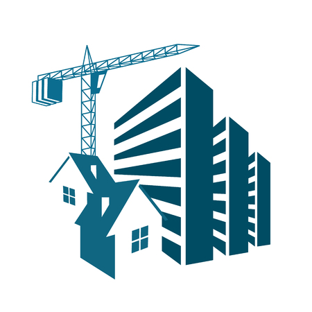 multistorey: Building and sales of housing symbol for business. Illustration