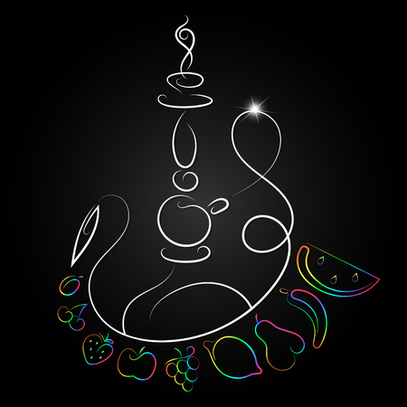 Silhouette of hookah with different fruit design