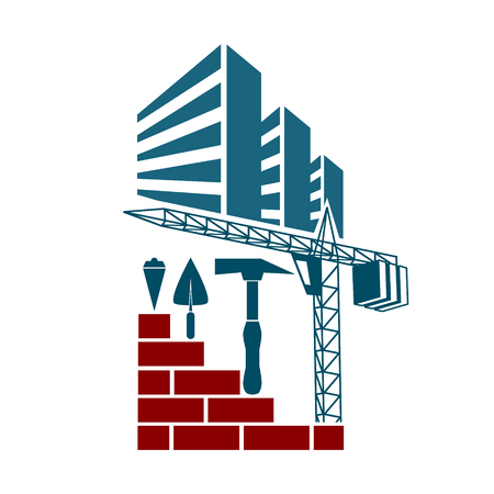 multistorey: Symbol for housing construction. Building crane and tools.