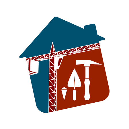 multistorey: Symbol for the construction business. Building crane and tools. Illustration
