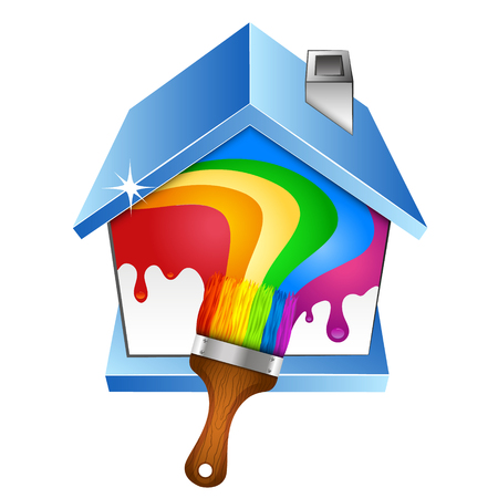 renovating: House and brush with paint. Symbol for painter vector. Illustration