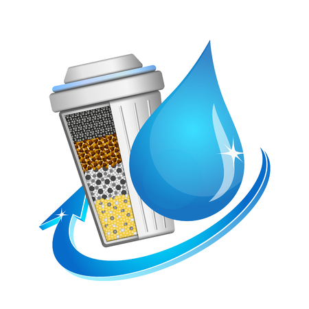 The symbol of running water purification. A drop of water and a filter. Illustration