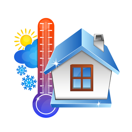Temperature in the house and the weather. House and thermometer symbol.