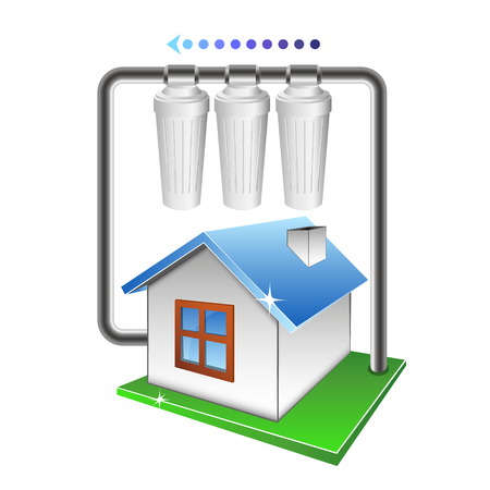 Filtration of water in the house. Scheme of filtration and purification of water. 向量圖像