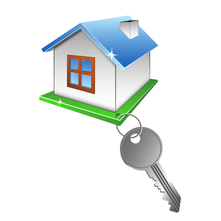 Home and key. Symbol for construction, housing sales and rentals. Illustration