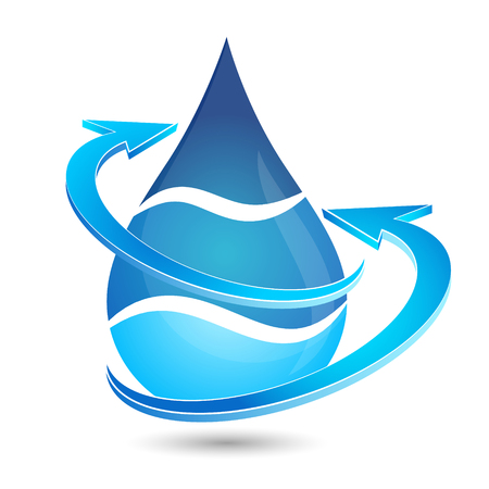 arrow sign: Water drop vector. Symbol for plumbing and water treatment.