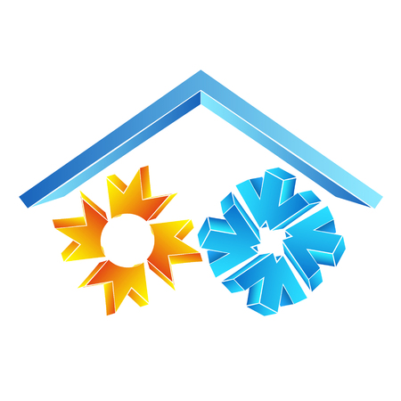 Sun and snowflake under the roof symbol for air conditioning