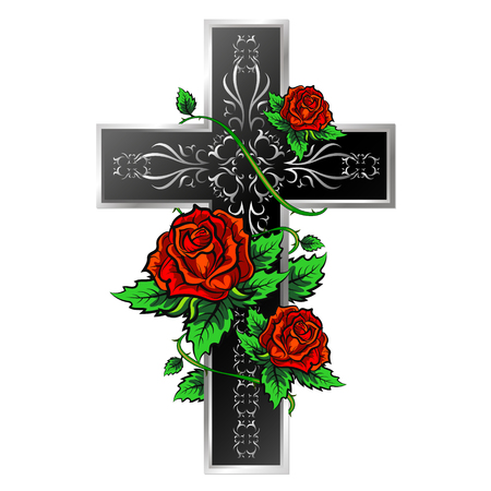 Cross with ornament and roses design for vector Illustration