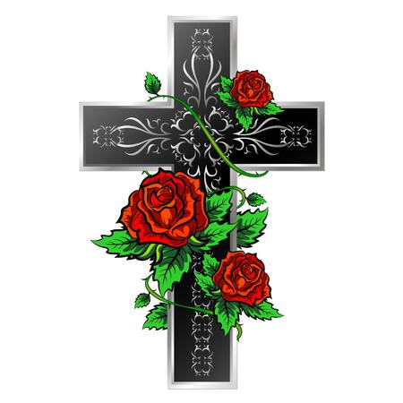 Kruis met ornament en rozen ontwerp voor vector