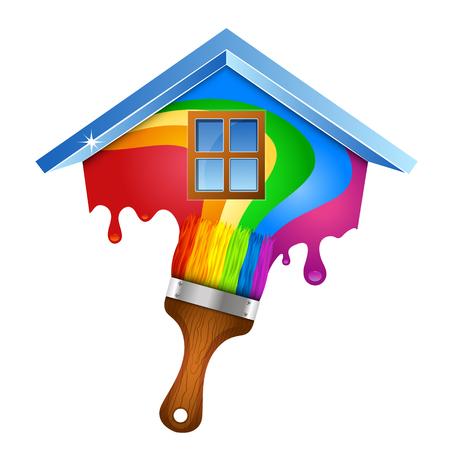家とペイント ブラシのベクトルをデザインします。