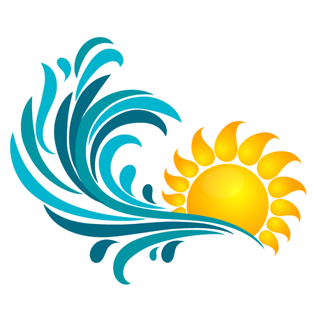 sea wave: The sun and the sea wave. Symbol for travel and recreation.