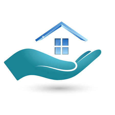 windows home: Symbol of the house in his hand. Sale, rental and purchase of real estate.