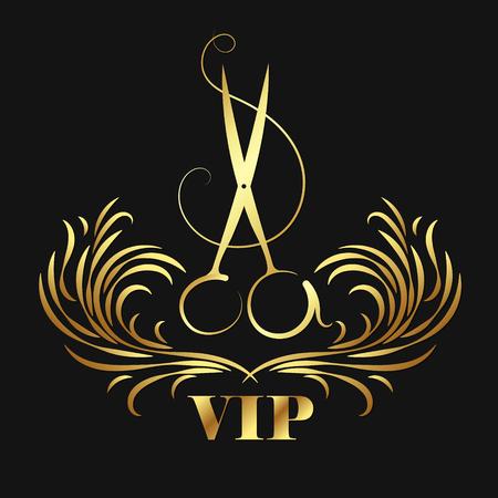 Vip beauty salon and hairdresser. Scissors and ornament symbol. 일러스트