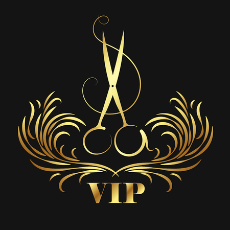 Vip beauty salon and hairdresser. Scissors and ornament symbol. Stock Illustratie