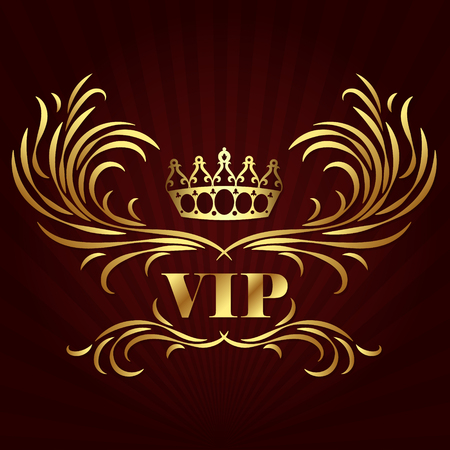 Vip card design with gold crown and ornament