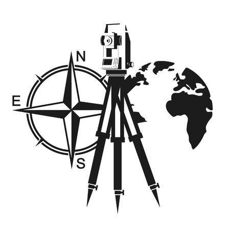 Urządzenie geodezyjne, wiatr rósł i symbol globu Ilustracje wektorowe