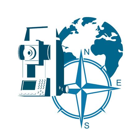Geodesie symbool vector. Het geodetische apparaat en de wereld. Stock Illustratie