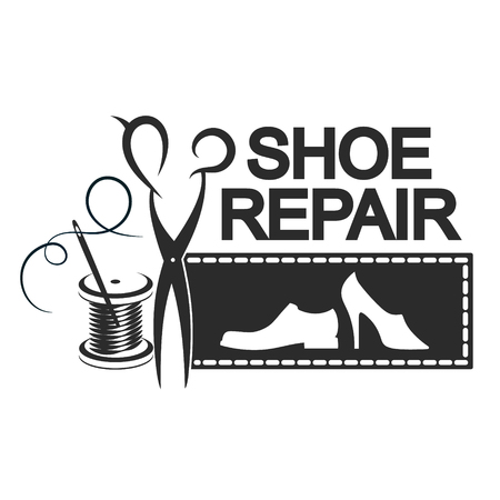 Shoe repair is silhouette for business. Scissors, needle and thread reel.
