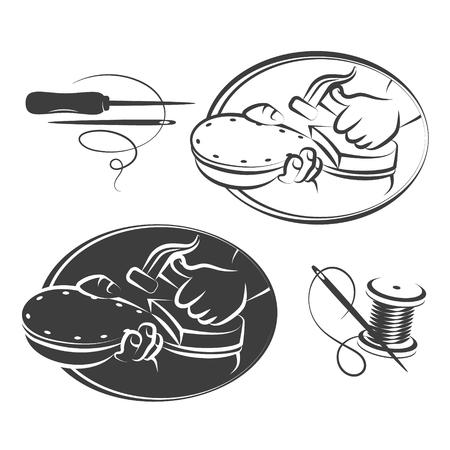 Shoe repair symbol set for vector