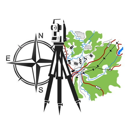 geodesy: Symbol for geodesy and cartography. Geodesic device and map.