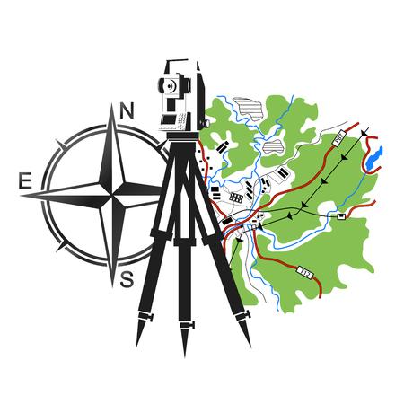 Symbol geodezji i kartografii. Urządzenie geodezyjne i mapa.