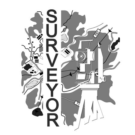 Symbol for surveyor. Geodesic device and map. Illustration