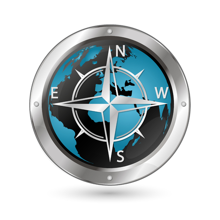 compass rose: The symbol of the wind rose against the background of the globe