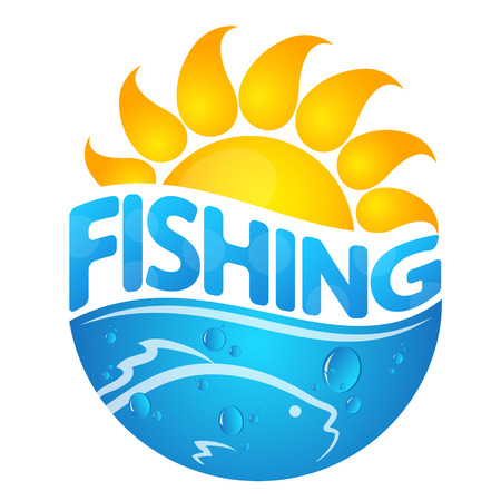 Fish and sun silhouette. Symbol for fishing design. 向量圖像