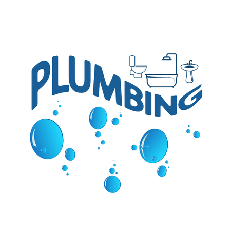 Plumbing abstract symbol with water drops Stock Vector - 78814193