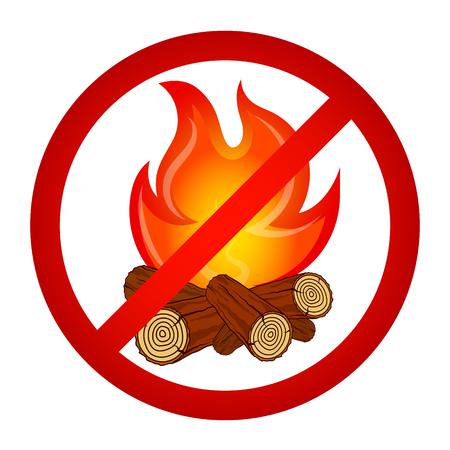 Kindle bonfire prohibited sign vector